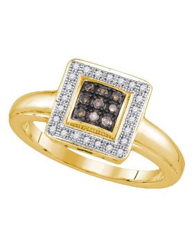Yellow-tone Sterling Silver Womens Round Cognac-brown Color Enhanced Diamond Cluster Ring 1/6 Cttw