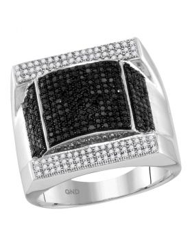 10KT WHITE GOLD ROUND BLACK COLOR ENHANCED DIAMOND DOMED RECTANGLE CLUSTER RING 1.00 CTTW