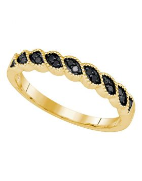 10k Yellow Gold Black Color Enhanced Round Diamond Womens Wedding Anniversary Band 1/6 Cttw