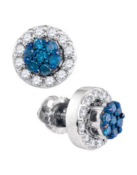 10kt White Gold Womens Round Blue Color Enhanced Diamond Flower Cluster Earrings 1/2 Cttw