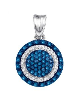 10kt White Gold Womens Round Blue Color Enhanced Diamond Circle Frame Cluster Pendant 1/4 Cttw