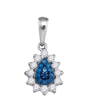 10kt White Gold Womens Round Blue Color Enhanced Diamond Teardrop Cluster Pendant 1/4 Cttw