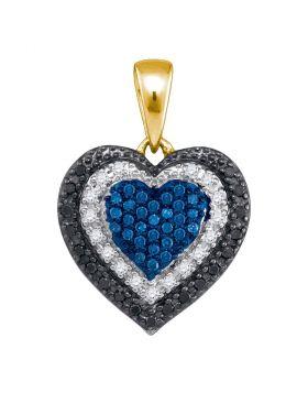 10kt Yellow Gold Womens Round Blue Color Enhanced Diamond Layered Heart Pendant 1/4 Cttw