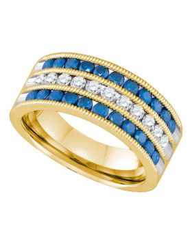 10kt Yellow Gold Womens Round Blue Color Enhanced Diamond Milgrain Striped Band Ring 1.00 Cttw