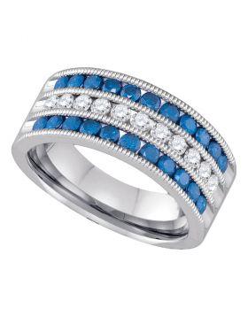 10kt White Gold Womens Round Blue Color Enhanced Diamond Milgrain Striped Band Ring 1.00 Cttw