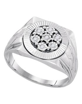 STERLING SILVER ROUND DIAMOND FLOWER CLUSTER ILLUSION-SET RING 1/10 CTTW