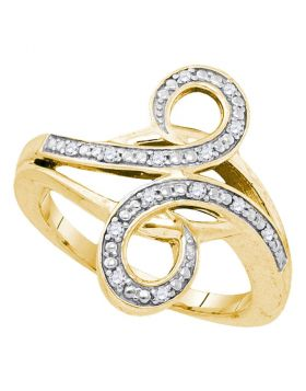 Yellow-tone Sterling Silver Womens Round Diamond Bypass Curl Band Ring 1/8 Cttw