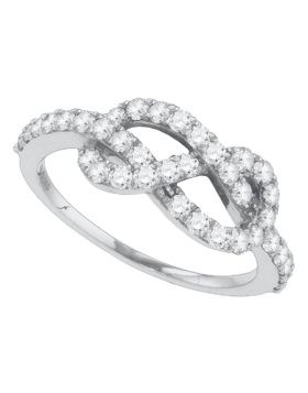 10k White Gold Womens Round Diamond Infinity Knot Woven Ring 3/4 Cttw