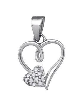Sterling Silver Womens Round Diamond Heart Love Pendant 1/20 Cttw
