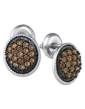 10kt White Gold Womens Round Cognac-brown Color Enhanced Diamond Cluster Earrings 1/2 Cttw
