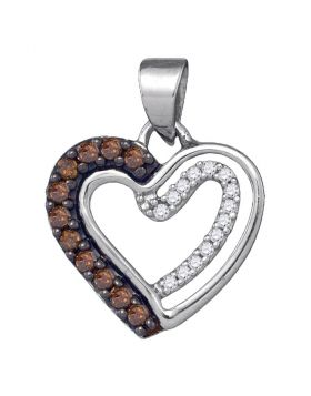 10kt White Gold Womens Round Cognac-brown Color Enhanced Diamond Heart Love Pendant 1/5 Cttw