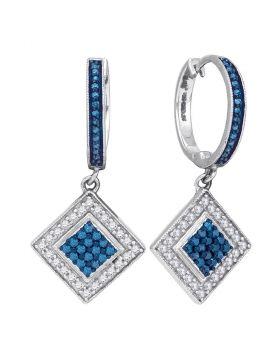 10kt White Gold Womens Round Blue Color Enhanced Diamond Square Dangle Earrings 1/2 Cttw