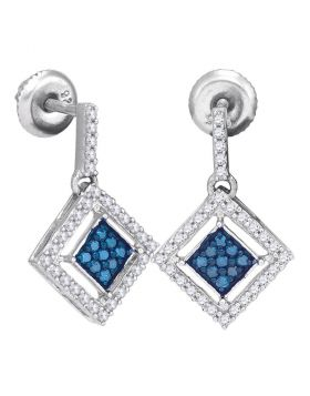 10kt White Gold Womens Round Blue Color Enhanced Diamond Diagonal Square Dangle Earrings 1/2 Cttw
