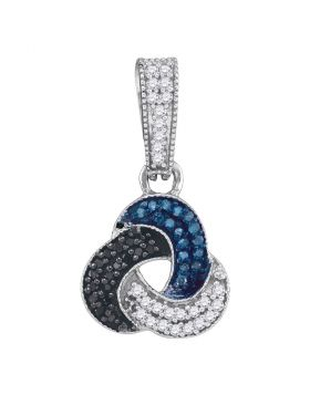 10kt White Gold Womens Blue Black Color Enhanced Diamond Trinity Cluster Pendant 1/3 Cttw
