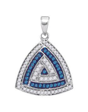 10kt White Gold Womens Round Blue Color Enhanced Diamond Triangle Pendant 1/3 Cttw