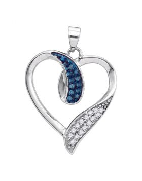 10kt White Gold Womens Round Blue Color Enhanced Diamond Heart Pendant 1/5 Cttw