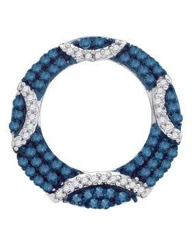 10kt White Gold Womens Round Blue Color Enhanced Diamond Circle Pendant 3/8 Cttw