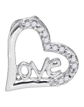 10kt White Gold Womens Round Diamond Heart Love Pendant 1/20 Cttw