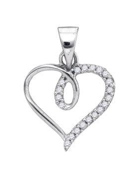 10kt White Gold Womens Round Diamond Heart Love Pendant 1/10 Cttw