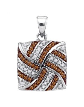 10kt White Gold Womens Round Brown Color Enhanced Diamond Square Pendant 1/4 Cttw