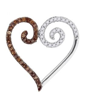 10kt White Gold Womens Round Cognac-brown Color Enhanced Diamond Heart Pendant 1/4 Cttw