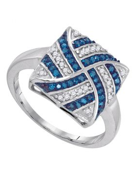10kt White Gold Womens Round Blue Color Enhanced Diamond Square Stripe Cluster Ring 1/4 Cttw