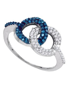 10kt White Gold Womens Round Blue Color Enhanced Diamond Cluster Ring 1/3 Cttw