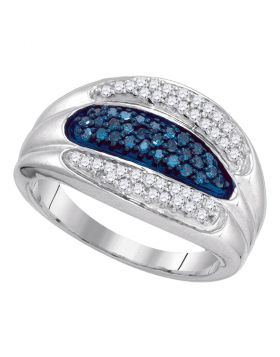 10kt White Gold Womens Round Blue Color Enhanced Diamond Triple Row Band 3/8 Cttw