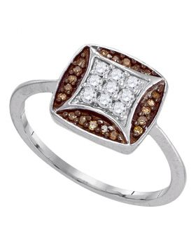10kt White Gold Womens Round Cognac-brown Color Enhanced Diamond Kite Square Cluster Ring 1/4 Cttw