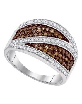 10kt White Gold Womens Round Cognac-brown Color Enhanced Diamond Crossover Stripe Band Ring 3/4 Cttw