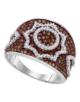 10kt White Gold Womens Round Brown Color Enhanced Diamond Starburst Fashion Ring 1.00 Cttw