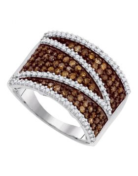 10kt White Gold Womens Round Cognac-brown Color Enhanced Diamond Stripe Band Ring 1.00 Cttw