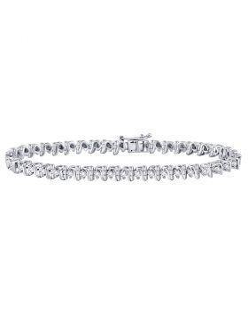 Sterling Silver Womens Round Diamond S Link Tennis Bracelet 1/3 Cttw