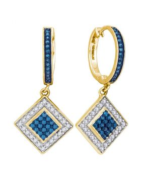 10kt Yellow Gold Womens Round Blue Color Enhanced Diamond Square Dangle Earrings 1/2 Cttw
