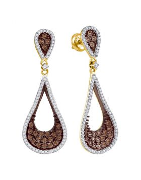 10kt Yellow Gold Womens Round Cognac-brown Color Enhanced Diamond Teardrop Dangle Earrings 1.00 Cttw