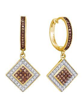 10kt Yellow Gold Womens Round Cognac-brown Color Enhanced Diamond Diagonal Square Dangle Earrings 1/2 Cttw