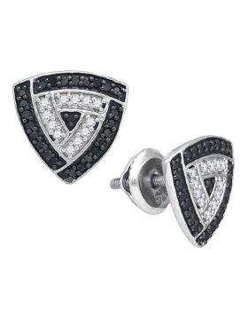 10kt White Gold Womens Round Black Color Enhanced Diamond Triangle Frame Stud Earrings 1/2 Cttw
