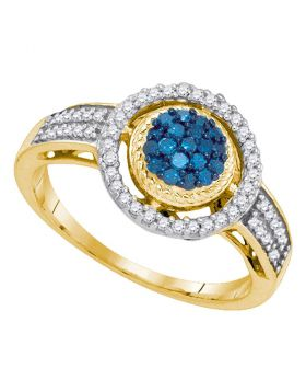 10kt Yellow Gold Womens Round Blue Color Enhanced Diamond Circle Frame Cluster Ring 1/3 Cttw