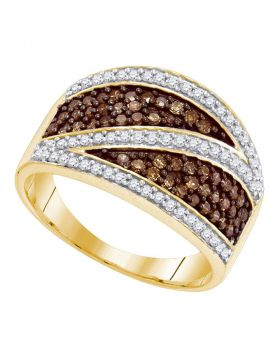 10kt Yellow Gold Womens Round Cognac-brown Color Enhanced Diamond Crossover Stripe Band Ring 3/4 Cttw