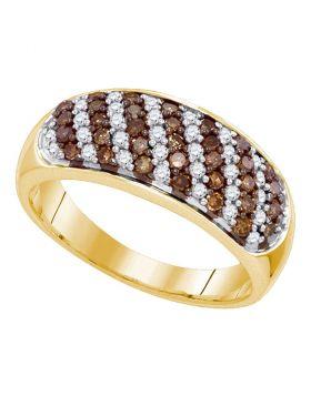 10kt Yellow Gold Womens Round Cognac-brown Color Enhanced Diamond Alternating Stripe Band 3/4 Cttw