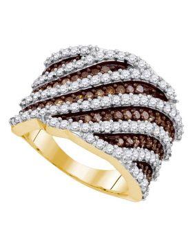 10kt Yellow Gold Womens Round Brown Color Enhanced Diamond Diagonal Stripe Fashion Ring 1-7/8 Cttw
