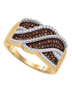 10kt Yellow Gold Womens Round Cognac-brown Color Enhanced Diamond Crossover Band 1/3 Cttw