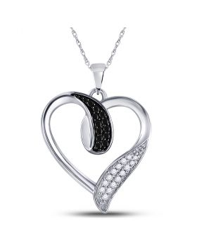 10kt White Gold Womens Round Black Color Enhanced Diamond Heart Pendant 1/5 Cttw