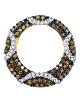 10kt Yellow Gold Womens Round Cognac-brown Color Enhanced Diamond Stripe Circle Pendant 3/8 Cttw