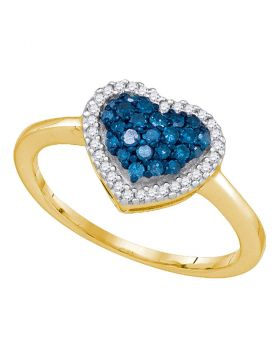 10kt Yellow Gold Womens Round Blue Color Enhanced Diamond Heart Love Ring 1/3 Cttw