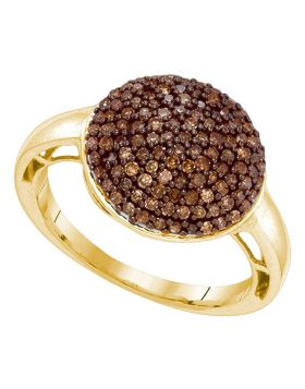 10kt Yellow Gold Womens Round Cognac-brown Color Enhanced Diamond Cluster Ring 5/8 Cttw