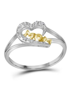 Two-tone Sterling Silver Womens Round Diamond Mom Heart Ring 1/20 Cttw