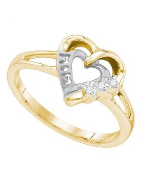 Yellow-tone Sterling Silver Womens Round Diamond Heart Love Ring .03 Cttw
