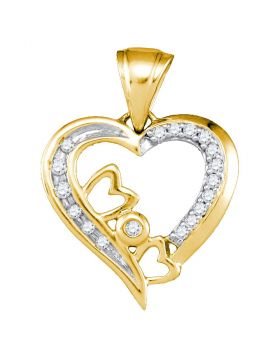 10kt Yellow Gold Womens Round Diamond Mom Heart Pendant 1/10 Cttw