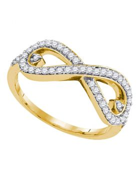 10kt Yellow Gold Womens Round Diamond Infinity Ring 1/4 Cttw